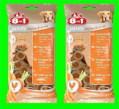 8in1 Minis Chicken & Carrot Hunde Snack 2 Tüten a100 gr Hundefutter mit Hähnchen