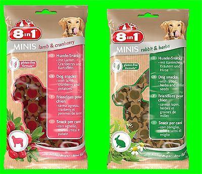 8in1 Minis Kombiset Lamp-Cranberry u. Rabitt-Herbs Hundesnack 2 Tüten a 100 gr