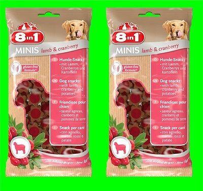 8in1 Minis Lamp & Cranberry Hunde Snack 2 Tüten a 100 gr Hundefutter mit Lamm