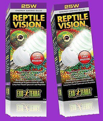 2 Stück Exo-Terra Reptile Vision Compact Lampe 25W sichtbares Reptilienlicht