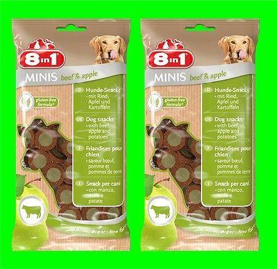 8in1 Minis Beef & Apple Hunde Snack 2 Tüten a100 gr Hundefutter mit Rind u Apfel